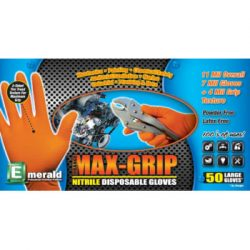 Orange Max-Grip Tread Ribbed Nitrile Glove