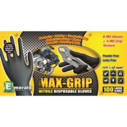 Black Max-Grip Ridged Texture Nitrile Gloves